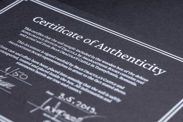 Dracula SE Certificate